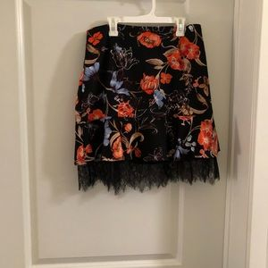 Funky floral skirt with lace bottom size 6